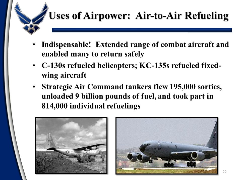 Uses of Airpower: Air-to-Air Refueling 22 Indispensable! Extended range of combat aircraft and enabled many to return safely C-130s refueled helicopte