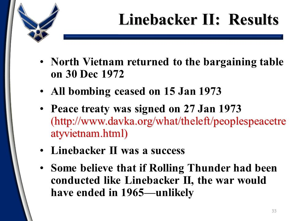 Linebacker II: Results 33 North Vietnam returned to the bargaining table on 30 Dec 1972 All bombing ceased on 15 Jan 1973 http://www.davka.org/what/th