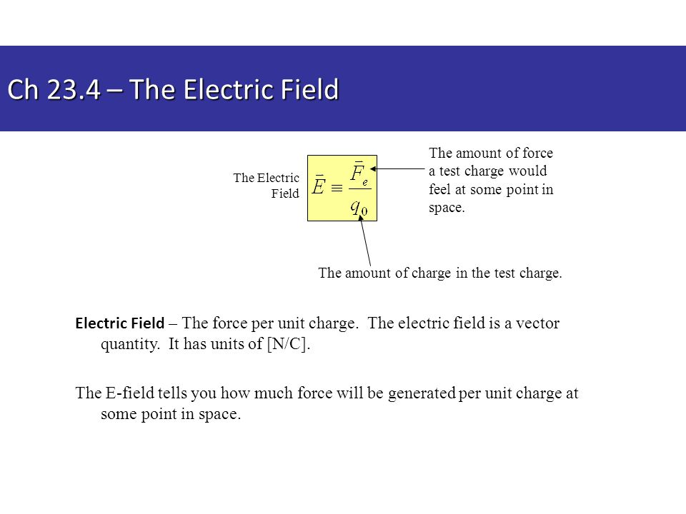Ch 23.4 – The Electric Field Electric Field – The force per unit charge. The electric field is a vector quantity. It has units of [N/C]. The E-field t