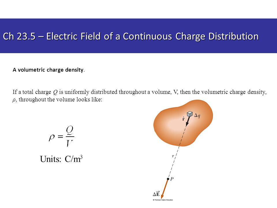 Ch 23.5 – Electric Field of a Continuous Charge Distribution A volumetric charge density. If a total charge Q is uniformly distributed throughout a vo