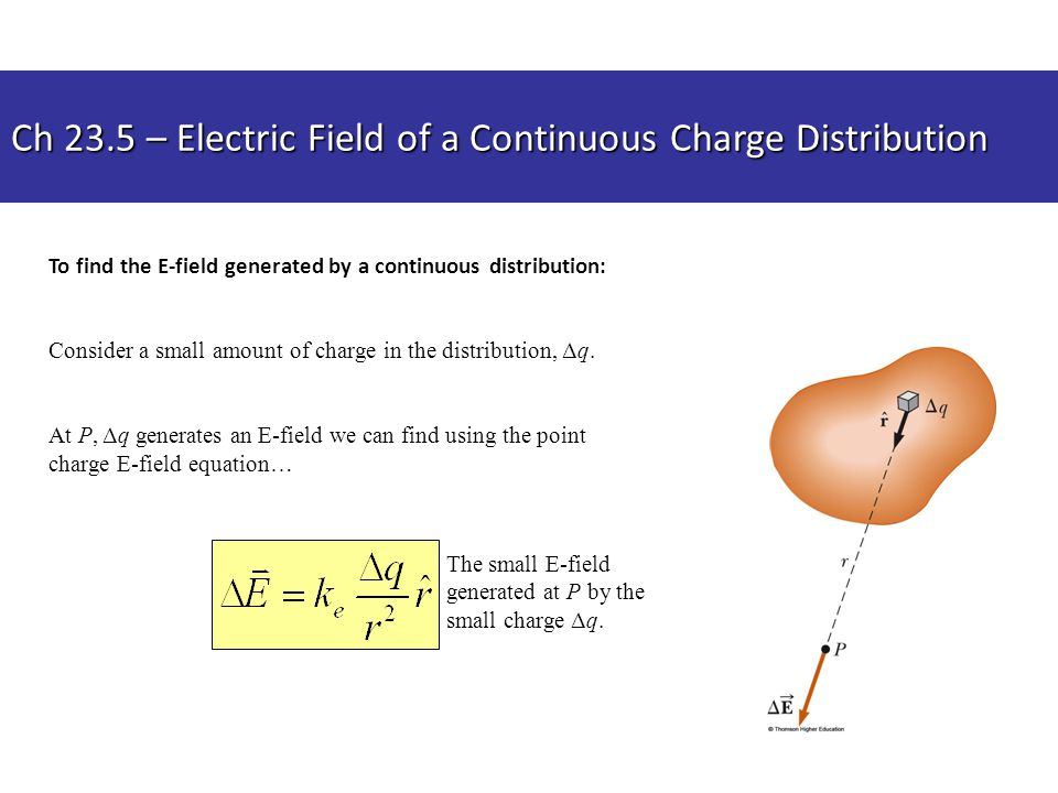 Ch 23.5 – Electric Field of a Continuous Charge Distribution To find the E-field generated by a continuous distribution: Consider a small amount of ch