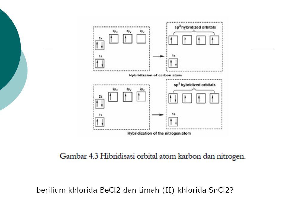 berilium khlorida BeCl2 dan timah (II) khlorida SnCl2?