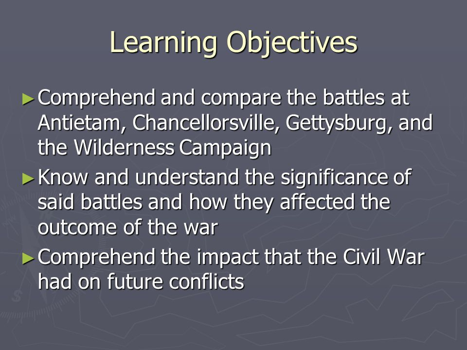 Analysis ► Use of cavalry  Stuart's recon contributes to Lee's plans  Hooker's use as rear assault ineffective ► Lee uses principle of movement well  Didn't violate mass due to common mission  Hooker yielded the initiative when his stronger force could have divided Lee's forces