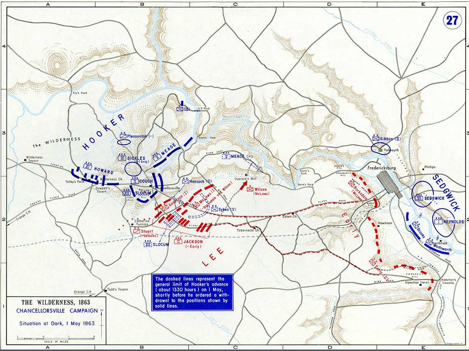 Battle of Chancellorsville ► 1 May: Hooker falls back to Chancellorsville after skirmish ► Lee informed of Hooker's exposed flank ► Lee envelop the envelopers  17,000 hold Union attention  Jackson's 26,000 make 15 mile-wide swing ► 2 May, 1700: Jackson charges Union's flank  Confederates weary after movement  Jackson wounded and Confederates pushed back  Hooker withdraws whole line next morning