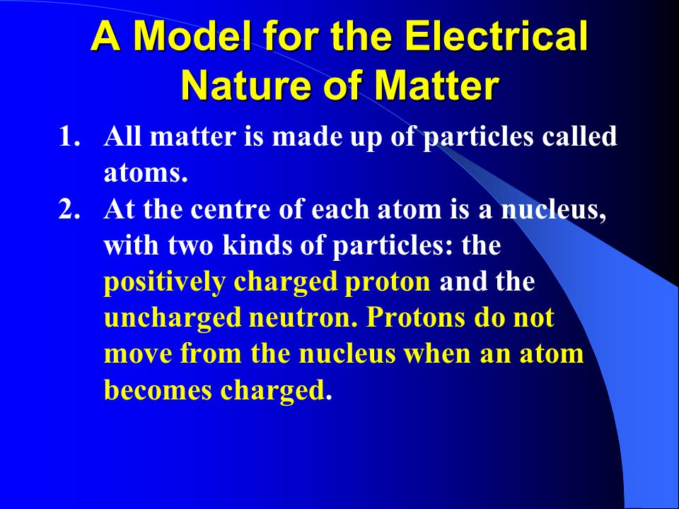 A Model for the Electrical Nature of Matter 1.All matter is made up of particles called atoms.
