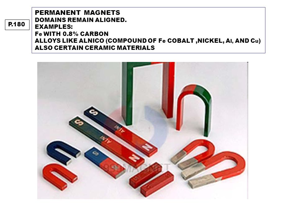 PERMANENT MAGNETS DOMAINS REMAIN ALIGNED. EXAMPLES: F e WITH 0.8% CARBON ALLOYS LIKE ALNICO (COMPOUND OF F e COBALT,NICKEL, A l, AND C u ) ALSO CERTAI