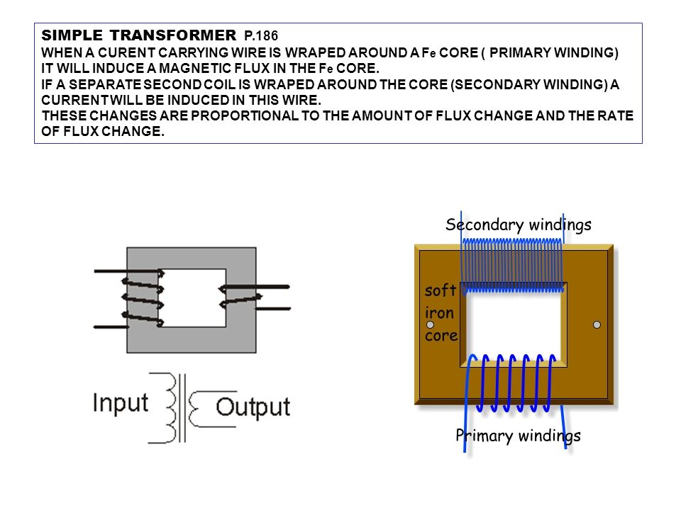 SIMPLE TRANSFORMER P.186 WHEN A CURENT CARRYING WIRE IS WRAPED AROUND A F e CORE ( PRIMARY WINDING) IT WILL INDUCE A MAGNETIC FLUX IN THE F e CORE. IF