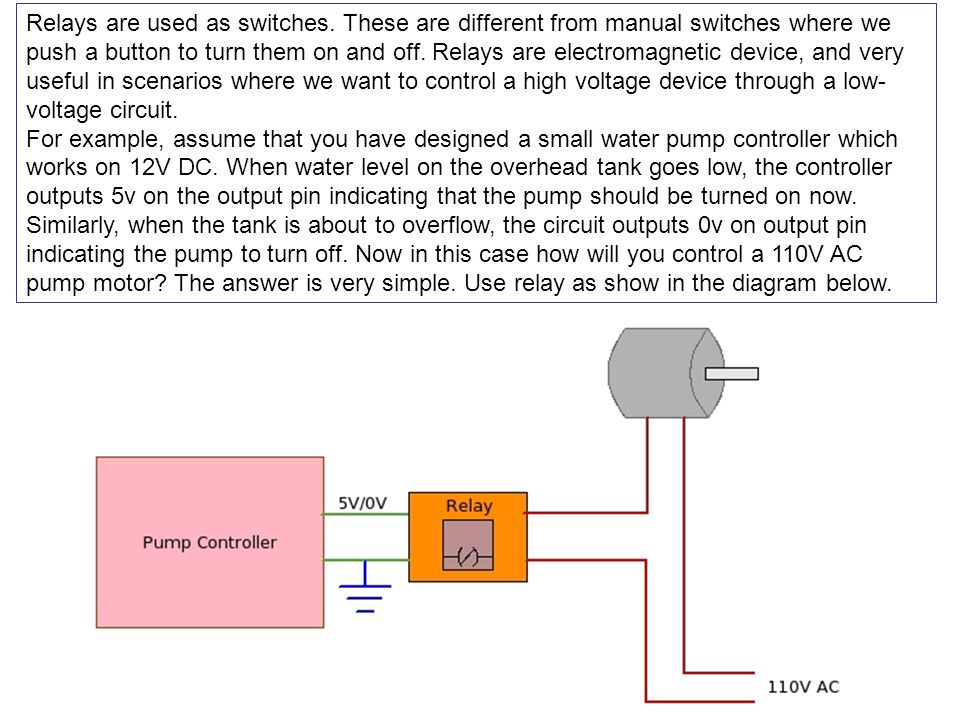 Relays are used as switches.