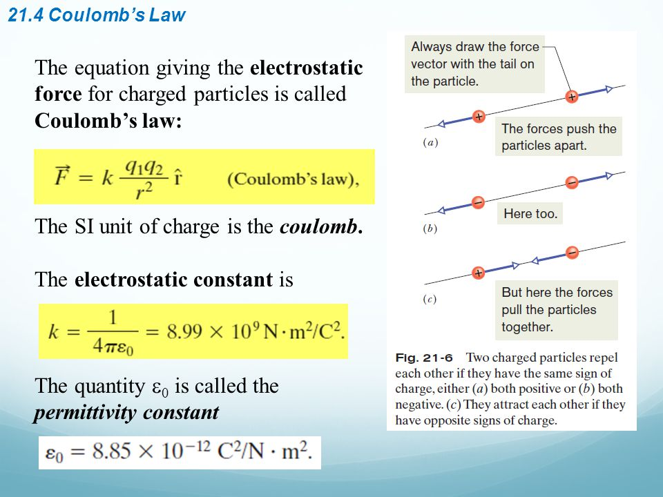 21.4 Coulomb's Law The equation giving the electrostatic force for charged particles is called Coulomb's law: The SI unit of charge is the coulomb.