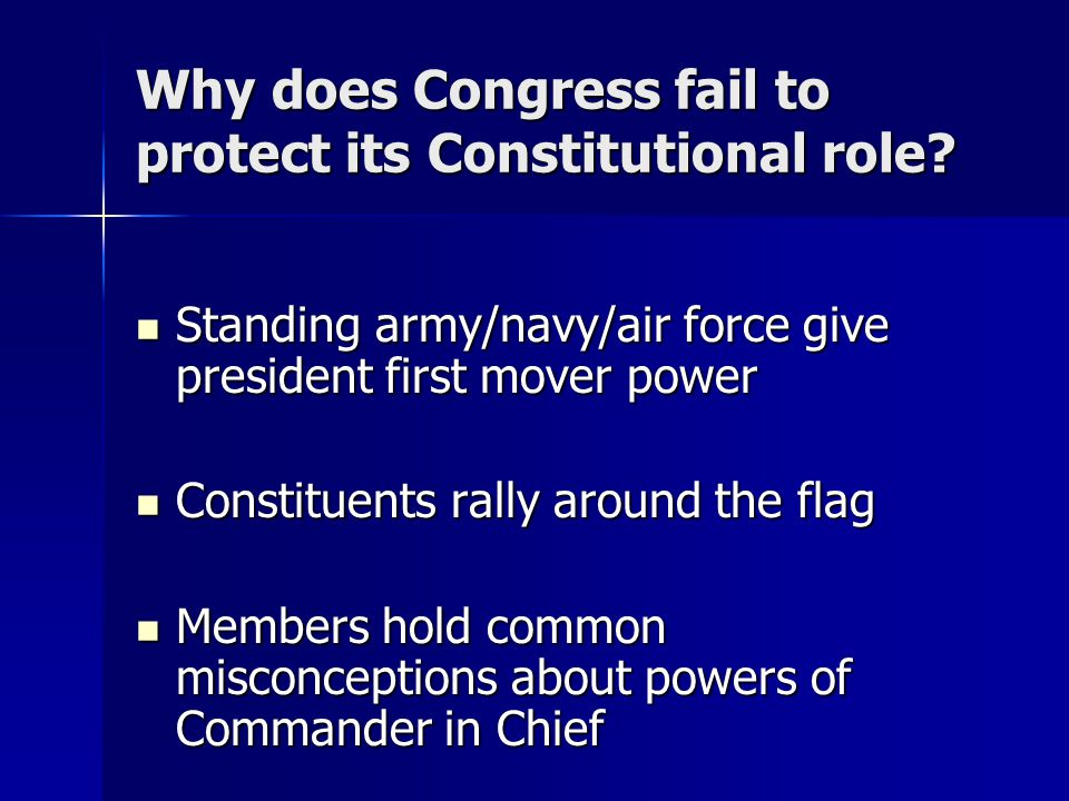 Why does Congress fail to protect its Constitutional role.