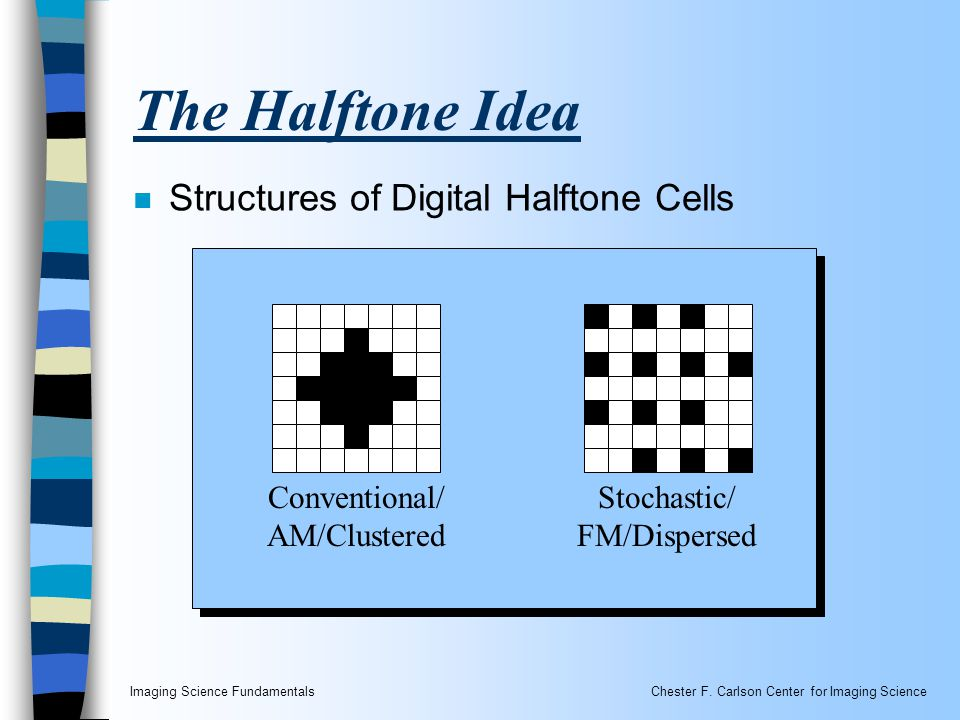 Imaging Science FundamentalsChester F. Carlson Center for Imaging Science The Halftone Idea Conventional/ AM/Clustered Stochastic/ FM/Dispersed n Stru