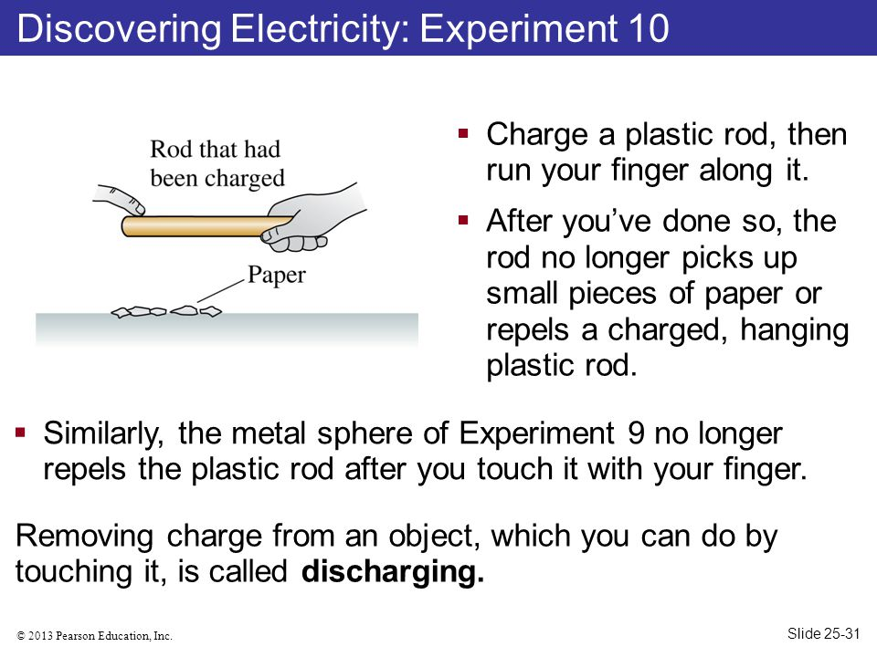 © 2013 Pearson Education, Inc. Discovering Electricity: Experiment 10  Charge a plastic rod, then run your finger along it.  After you've done so, t