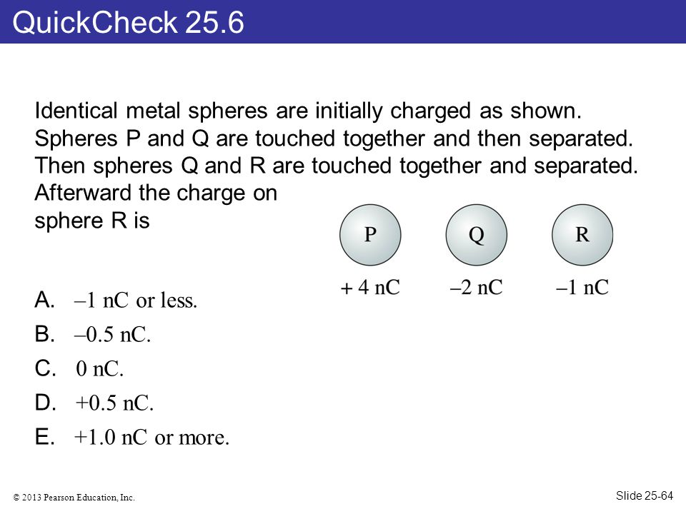 © 2013 Pearson Education, Inc. Identical metal spheres are initially charged as shown. Spheres P and Q are touched together and then separated. Then s