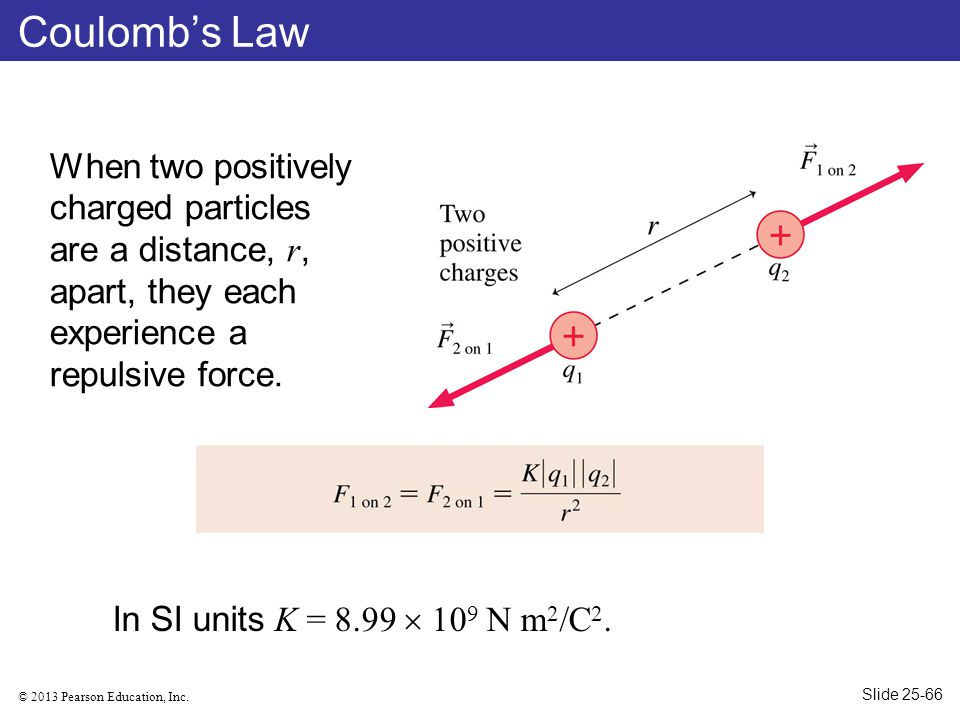 © 2013 Pearson Education, Inc. Coulomb's Law When two positively charged particles are a distance, r, apart, they each experience a repulsive force. I