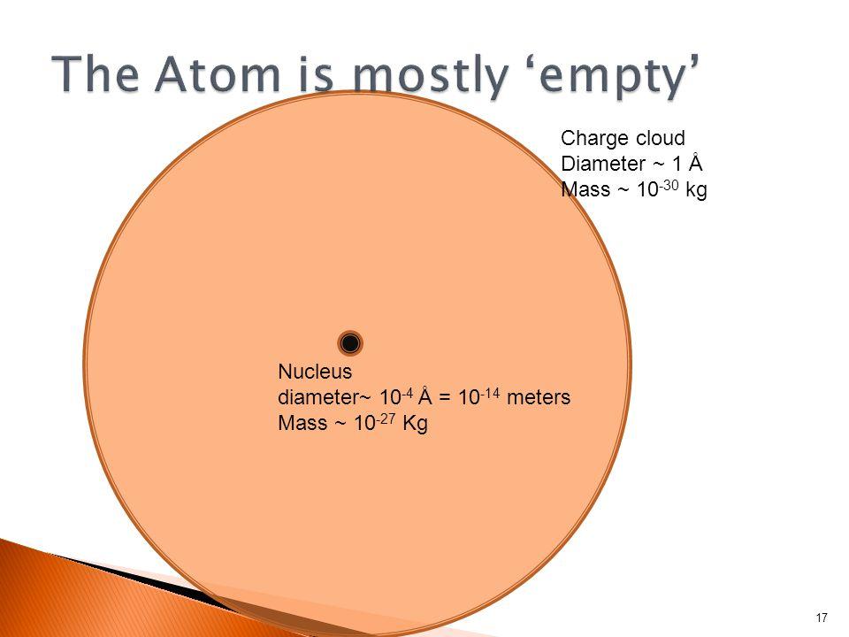 17 Nucleus diameter~ 10 -4 Å = 10 -14 meters Mass ~ 10 -27 Kg Charge cloud Diameter ~ 1 Å Mass ~ 10 -30 kg