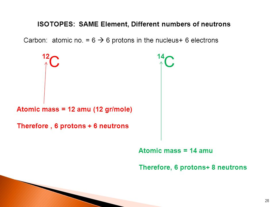 ISOTOPES: SAME Element, Different numbers of neutrons C 12 C 14 Carbon: atomic no.
