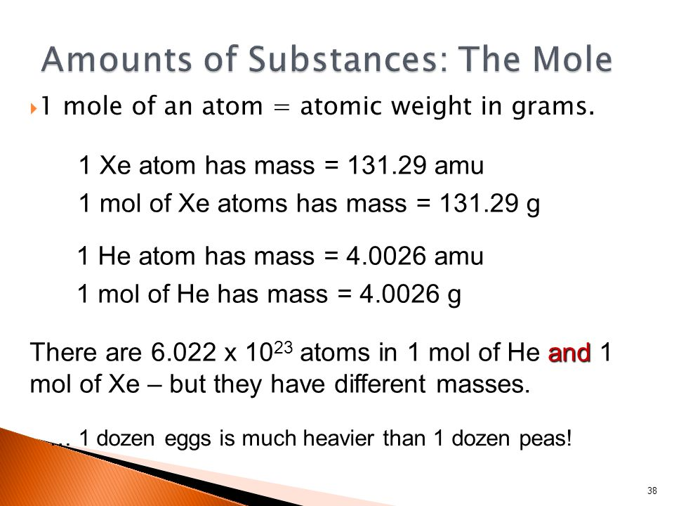 1 mole of an atom = atomic weight in grams.
