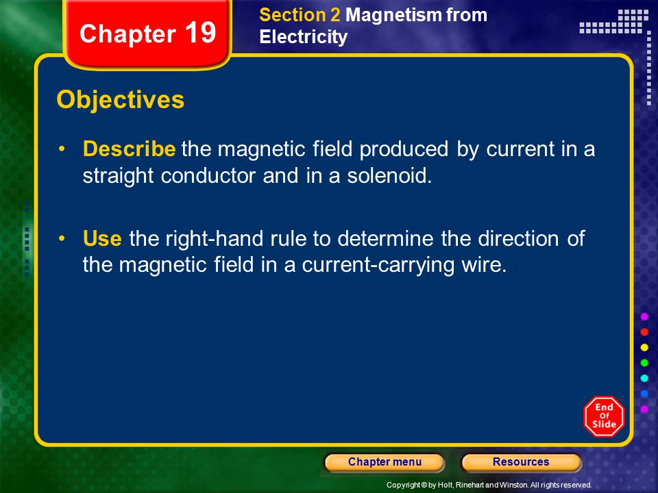 Copyright © by Holt, Rinehart and Winston. All rights reserved. ResourcesChapter menu Section 2 Magnetism from Electricity Chapter 19 Objectives Descr