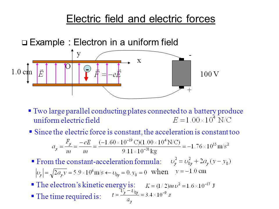 Electric field and electric forces  Example : Electron in a uniform field y x O 1.0 cm - - + 100 V  Two large parallel conducting plates connected t