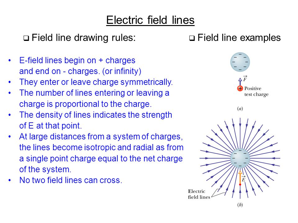 Electric field lines E-field lines begin on + charges and end on - charges. (or infinity) They enter or leave charge symmetrically. The number of line