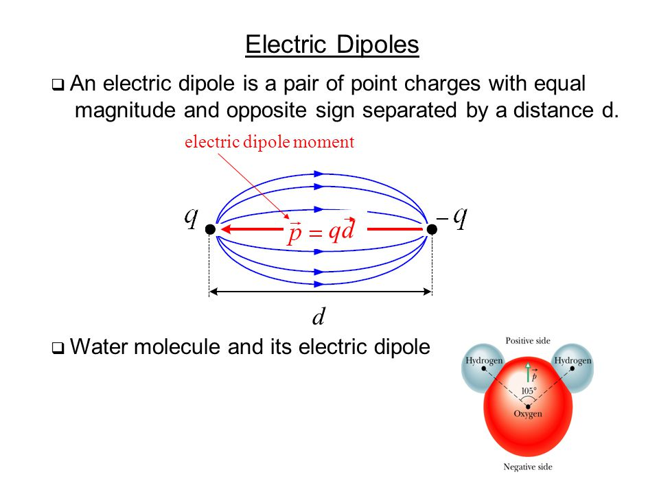 Electric Dipoles  An electric dipole is a pair of point charges with equal magnitude and opposite sign separated by a distance d. qd d electric dipol