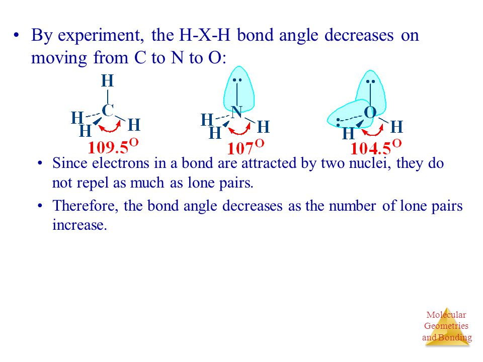 Molecular Geometries and Bonding Molecular Geometries and Bonding By experiment, the H-X-H bond angle decreases on moving from C to N to O: Since elec