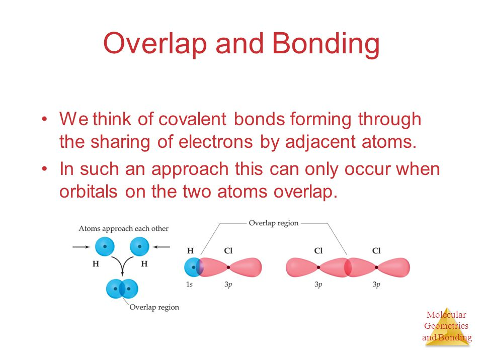 Molecular Geometries and Bonding Molecular Geometries and Bonding Overlap and Bonding We think of covalent bonds forming through the sharing of electr