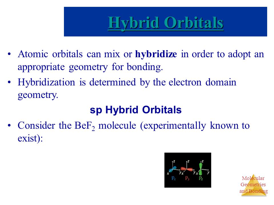 Molecular Geometries and Bonding Molecular Geometries and Bonding Atomic orbitals can mix or hybridize in order to adopt an appropriate geometry for b