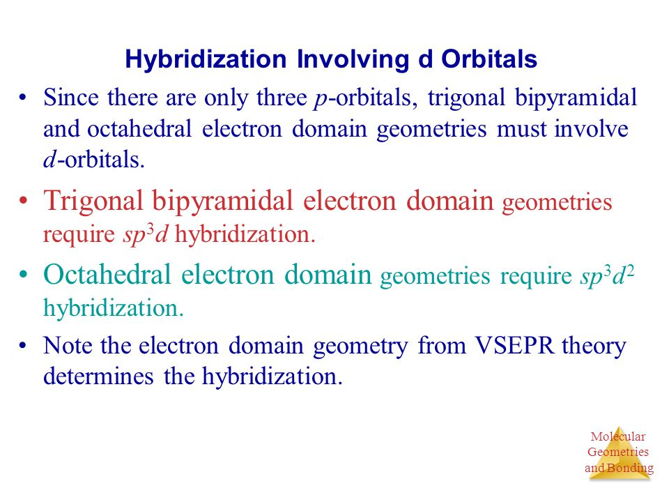 Molecular Geometries and Bonding Molecular Geometries and Bonding Hybridization Involving d Orbitals Since there are only three p-orbitals, trigonal b
