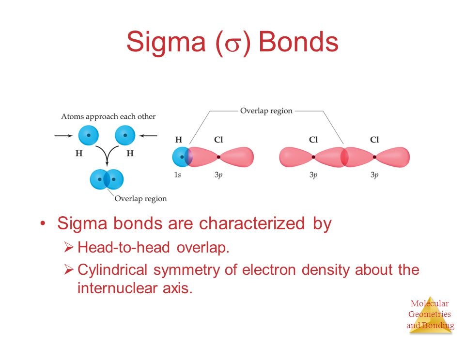 Molecular Geometries and Bonding Molecular Geometries and Bonding Sigma (  ) Bonds Sigma bonds are characterized by  Head-to-head overlap.  Cylindr