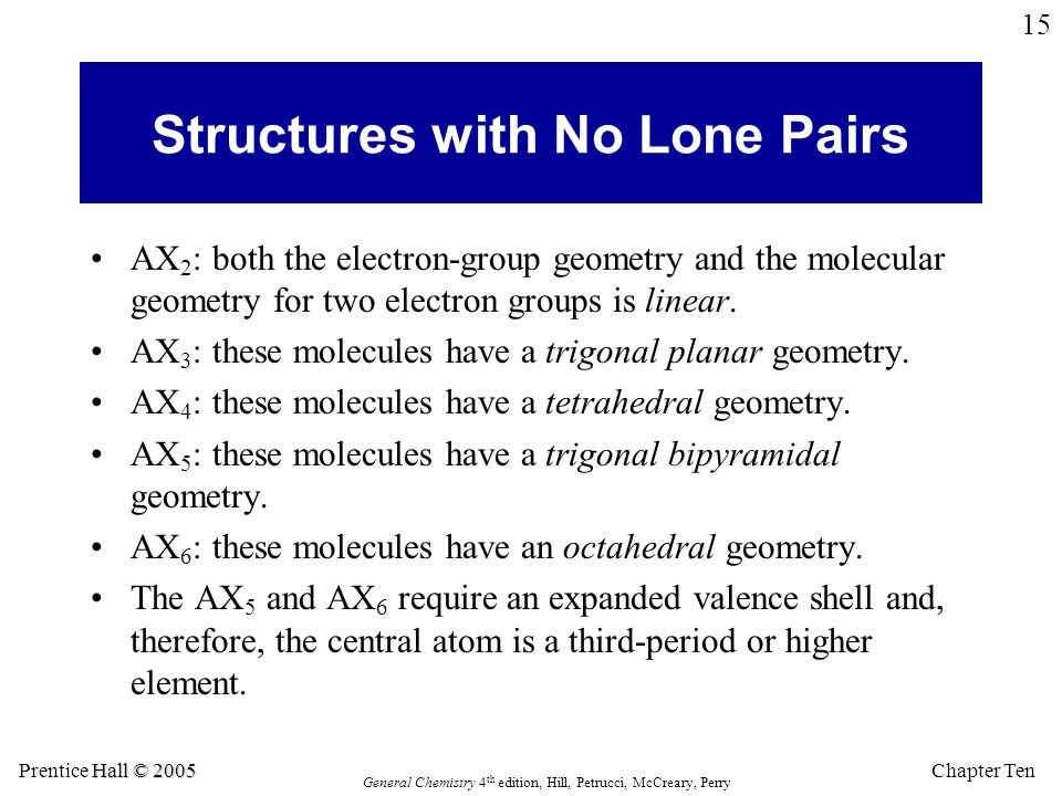 Chapter Ten Hall © 2005 Prentice Hall © 2005 General Chemistry 4 th edition, Hill, Petrucci, McCreary, Perry 15 Structures with No Lone Pairs AX 2 : b