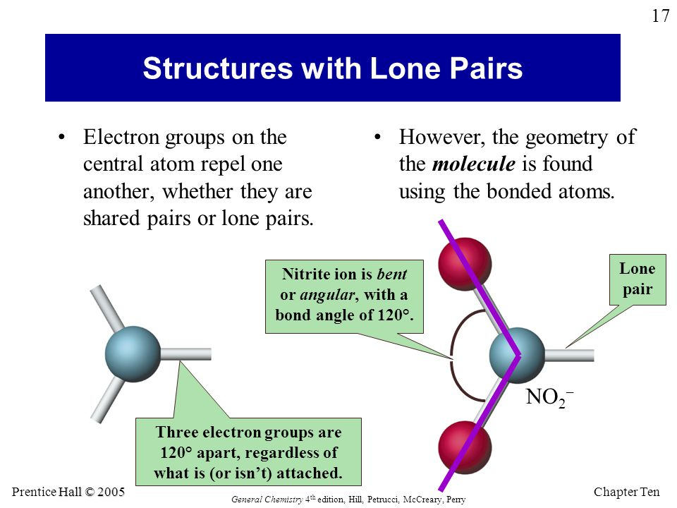 Chapter Ten Hall © 2005 Prentice Hall © 2005 General Chemistry 4 th edition, Hill, Petrucci, McCreary, Perry 17 Structures with Lone Pairs Electron gr
