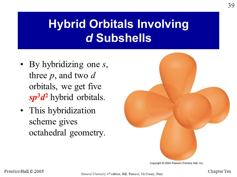 Chapter Ten Hall © 2005 Prentice Hall © 2005 General Chemistry 4 th edition, Hill, Petrucci, McCreary, Perry 39 Hybrid Orbitals Involving d Subshells