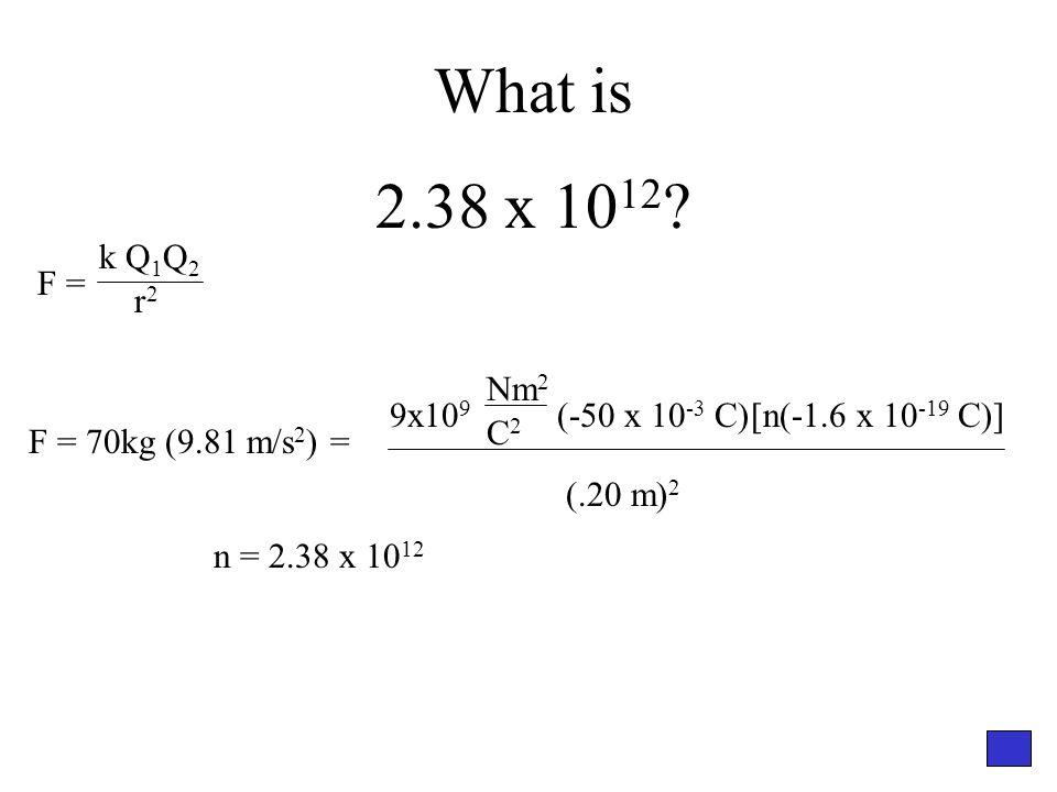 What is 2.38 x 10 12 ? F = 70kg (9.81 m/s 2 ) = 9x10 9 (-50 x 10 -3 C)[n(-1.6 x 10 -19 C)] Nm 2 C2C2 (.20 m) 2 n = 2.38 x 10 12 F = k Q 1 Q 2 r2r2