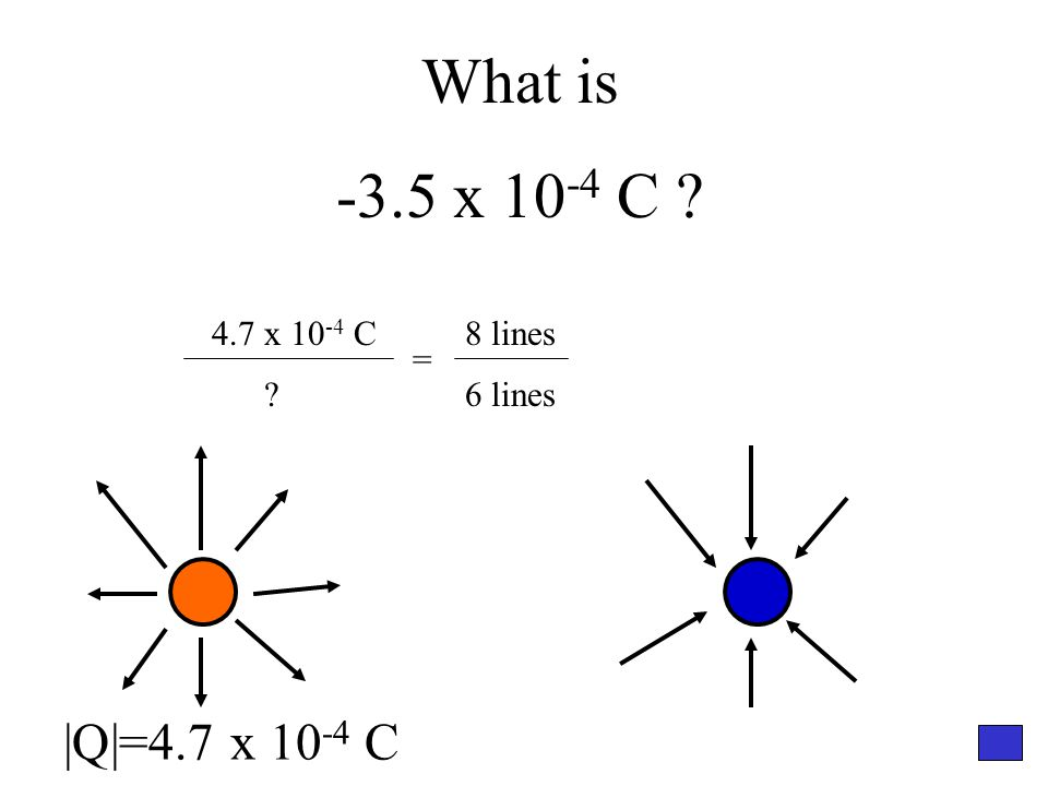What is -3.5 x 10 -4 C ? 4.7 x 10 -4 C ? = 8 lines 6 lines |Q|=4.7 x 10 -4 C