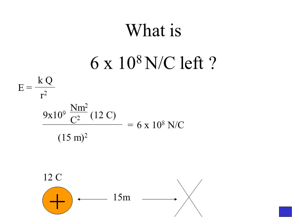 What is 6 x 10 8 N/C left 12 C 15m 9x10 9 (12 C) Nm 2 C2C2 (15 m) 2 =6 x 10 8 N/C E = k Q r2r2