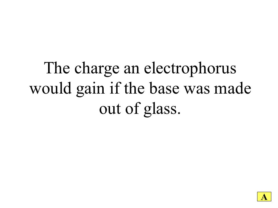 The charge an electrophorus would gain if the base was made out of glass. A