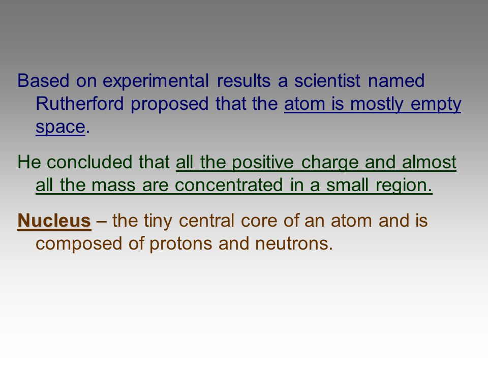 Based on experimental results a scientist named Rutherford proposed that the atom is mostly empty space. He concluded that all the positive charge and