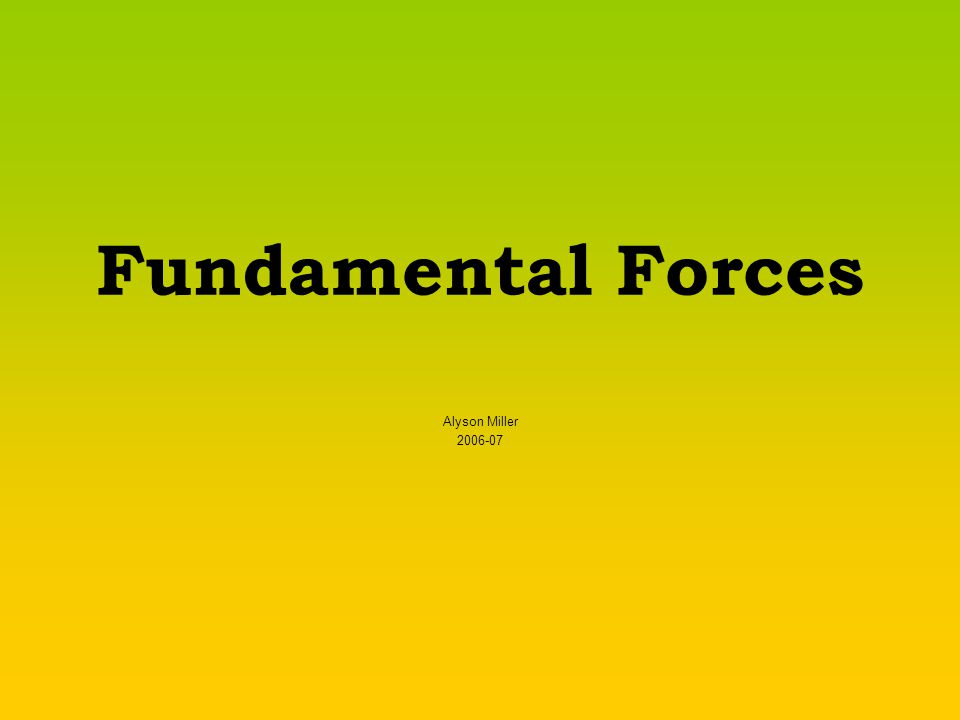 Fundamental Forces Alyson Miller 2006-07
