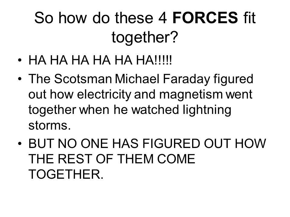 So how do these 4 FORCES fit together. HA HA HA HA HA HA!!!!.
