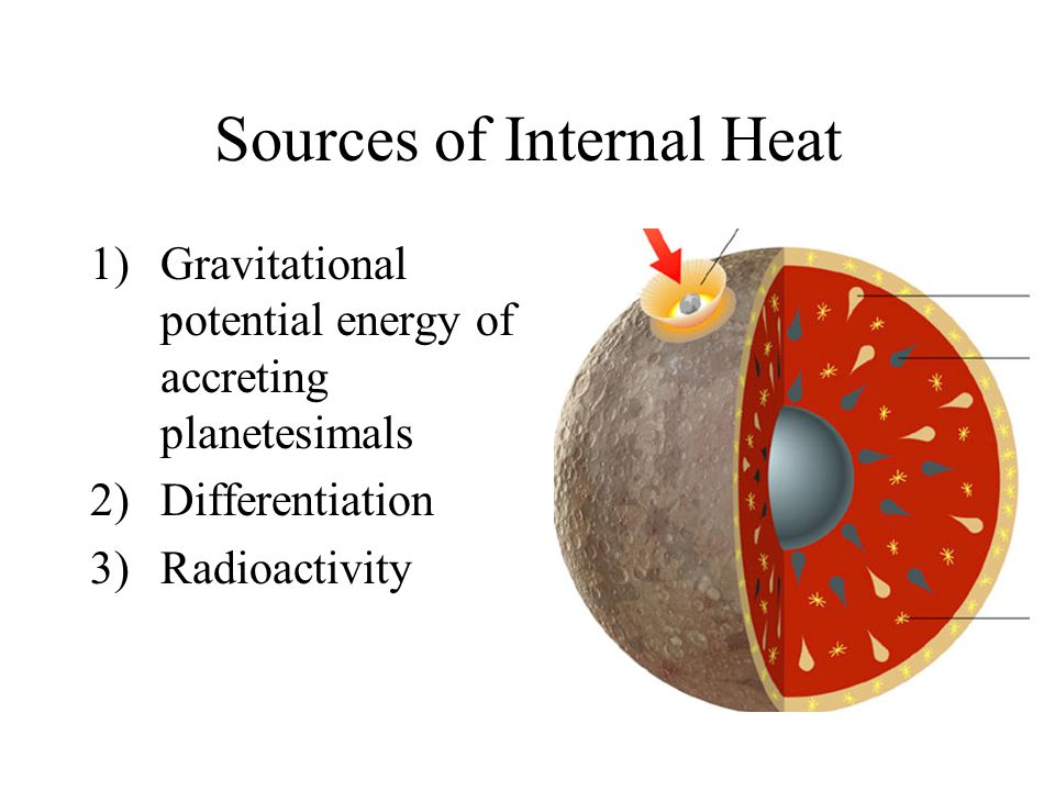 Sources of Internal Heat 1)Gravitational potential energy of accreting planetesimals 2)Differentiation 3)Radioactivity