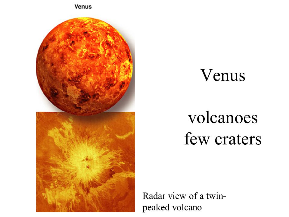 Venus volcanoes few craters Radar view of a twin- peaked volcano
