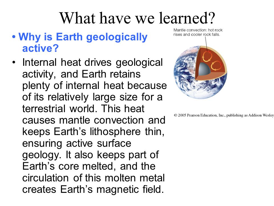 What have we learned.Why is Earth geologically active.