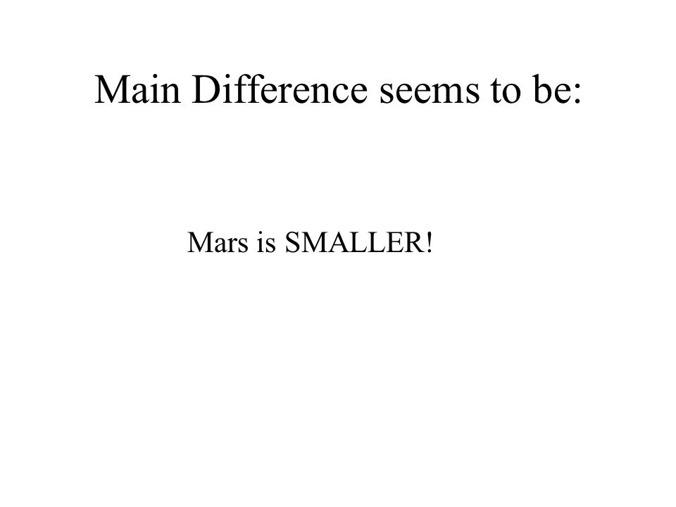 Main Difference seems to be: Mars is SMALLER!