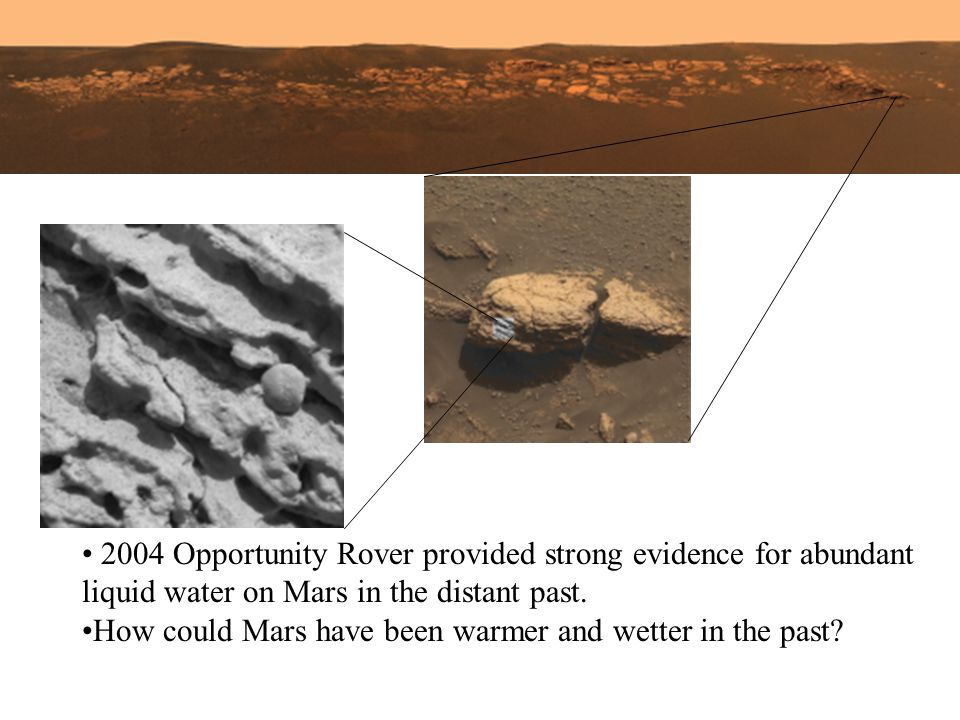 2004 Opportunity Rover provided strong evidence for abundant liquid water on Mars in the distant past. How could Mars have been warmer and wetter in t