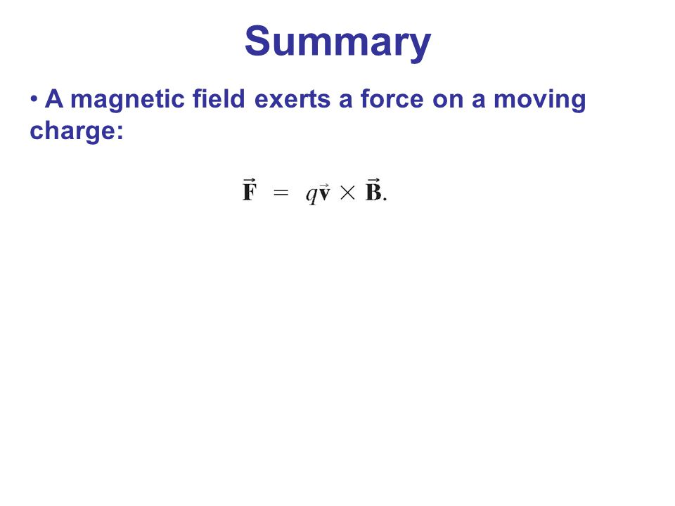 A magnetic field exerts a force on a moving charge: Summary
