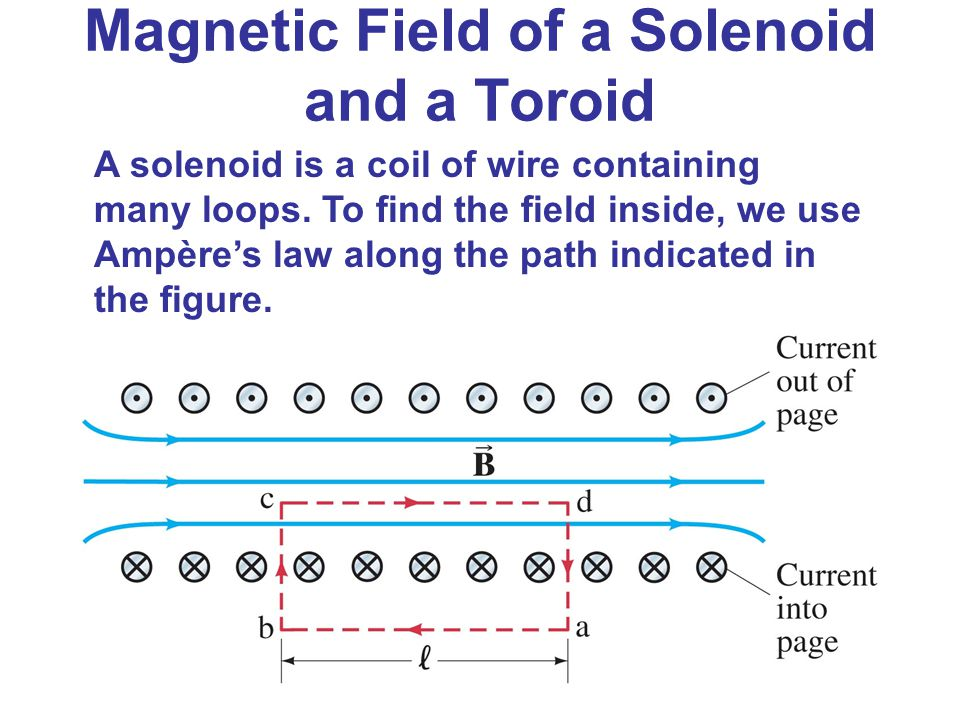 Magnetic Field of a Solenoid and a Toroid A solenoid is a coil of wire containing many loops. To find the field inside, we use Ampère's law along the