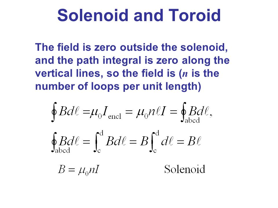Solenoid and Toroid The field is zero outside the solenoid, and the path integral is zero along the vertical lines, so the field is ( n is the number