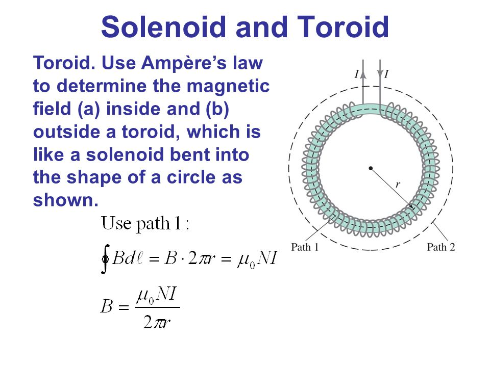 Solenoid and Toroid Toroid. Use Ampère's law to determine the magnetic field (a) inside and (b) outside a toroid, which is like a solenoid bent into t