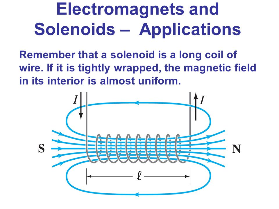 Remember that a solenoid is a long coil of wire. If it is tightly wrapped, the magnetic field in its interior is almost uniform. Electromagnets and So